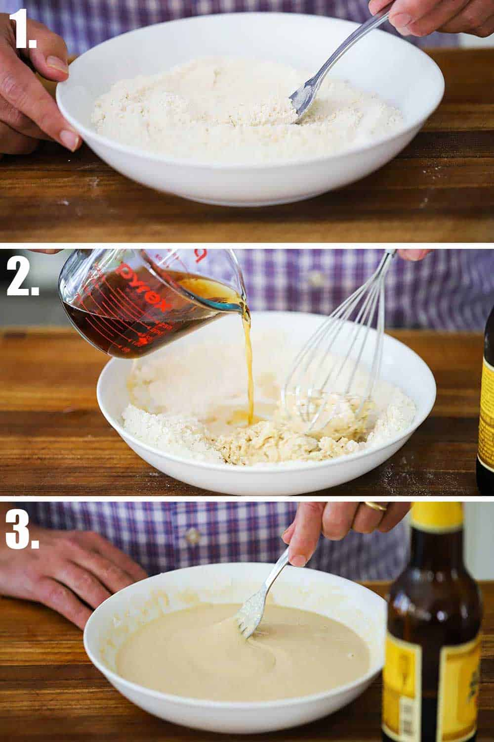 3 stacked images with top a white bowl filled with flour and a fork, and next beer pouring into the flour, and bottom a fork blending the batter.