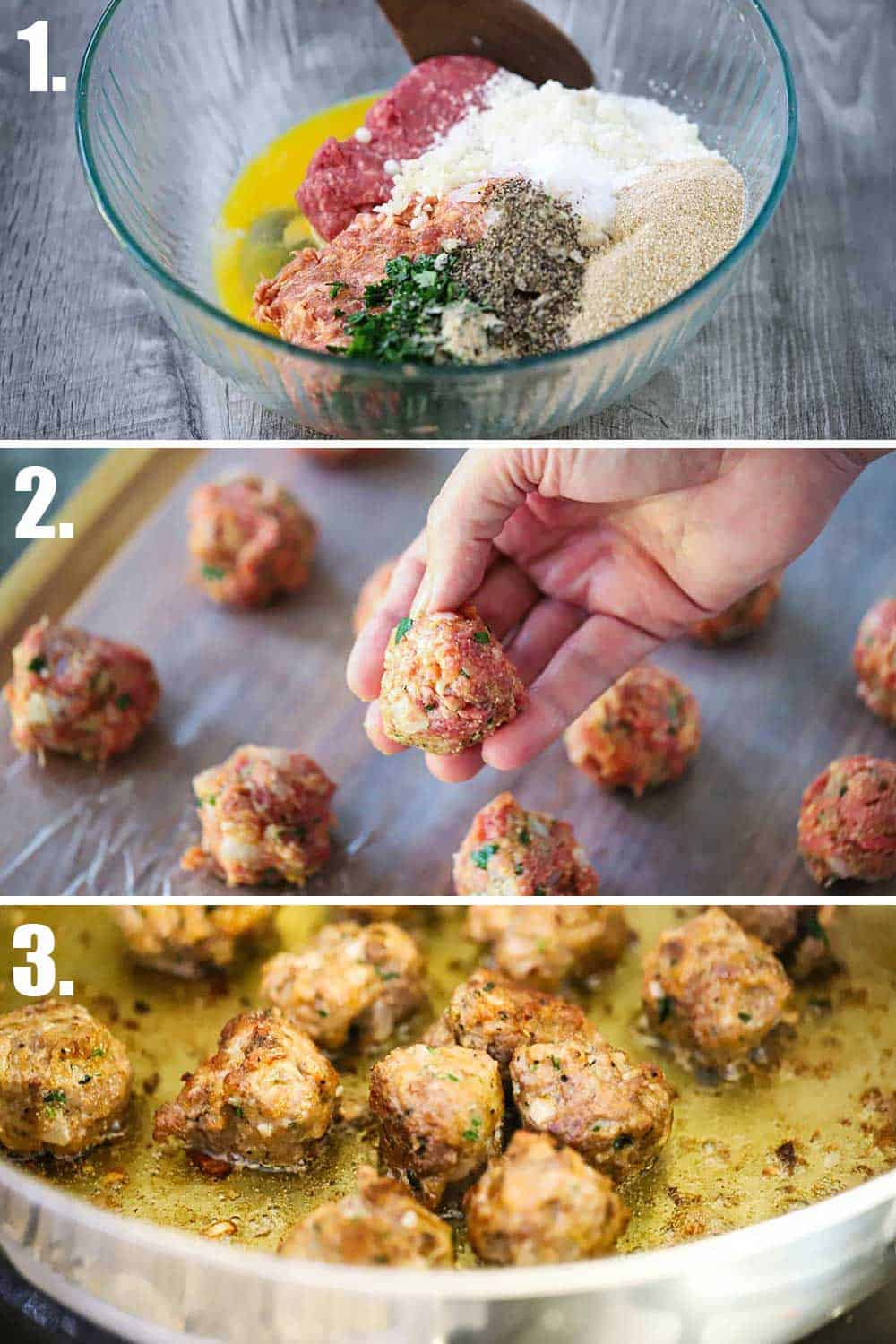 3 images with 1st a bowl filled with ground meat, eggs, and cheese, and the next a hand holding a formed meatball, and last meatballs cooking in a hot skillet.