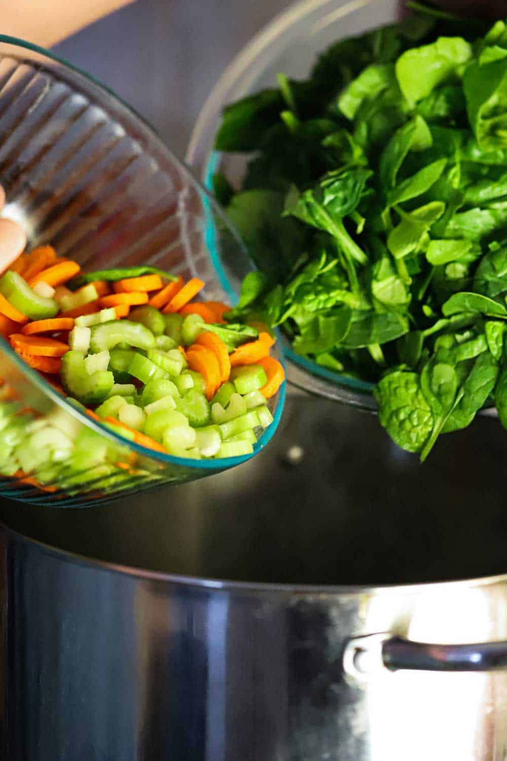 Two glass bowls, one filled with sliced celery and carrots and the other with spinach, both over a stock pot.