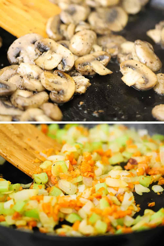 Sliced mushrooms sautéing in a skillet and mirepoix also sautéing.