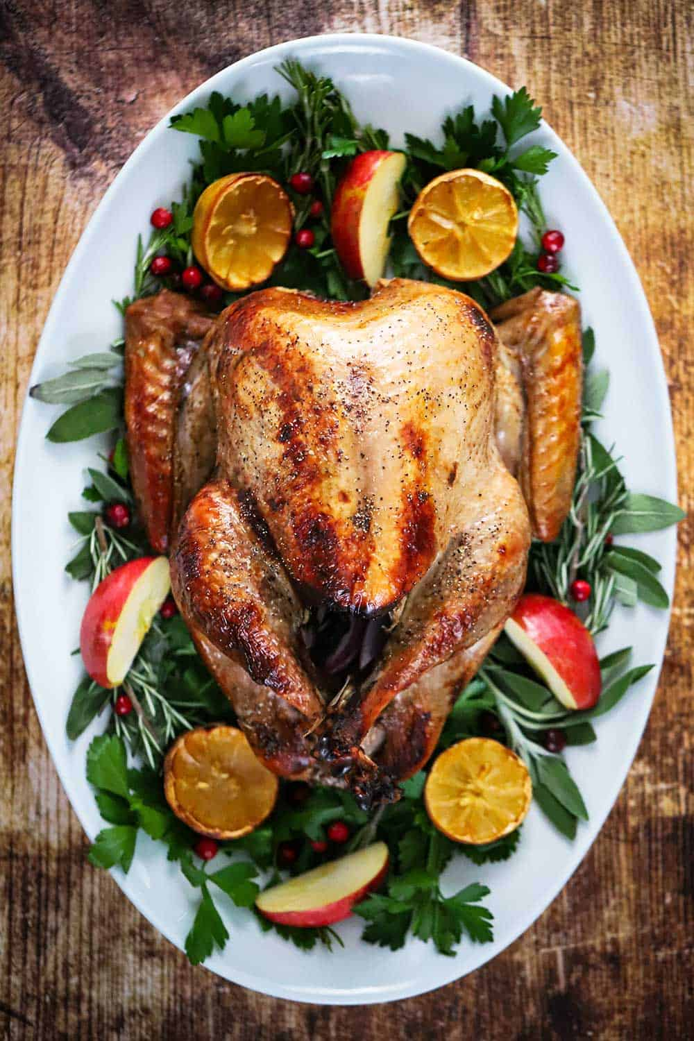 A roasted turkey sitting on a bed of greens and surround by fruit on a large white oval platter.