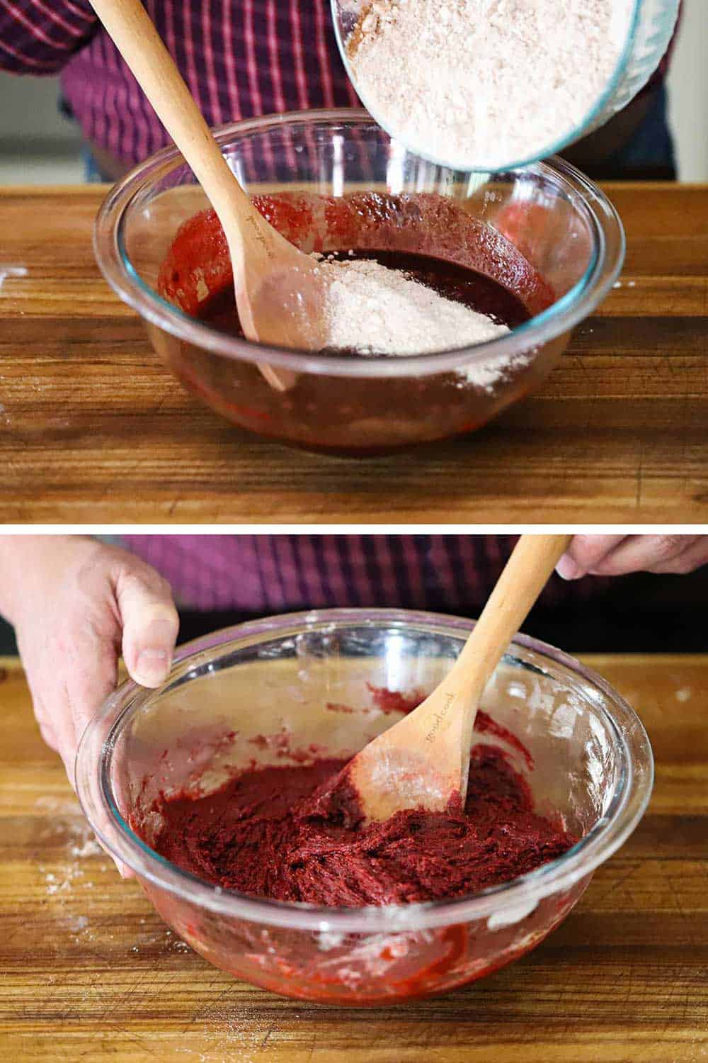 A person dumping a flour mixture into a chocolate mixture and then completely mixed together with a wooden spoon.