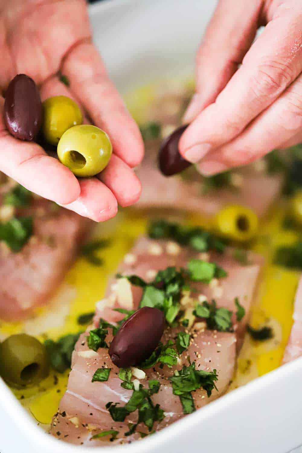 Two hands placing pitted green and Kalamata olives into a baking dish filled with fish fillets covered in olive oil, basil, and garlic.