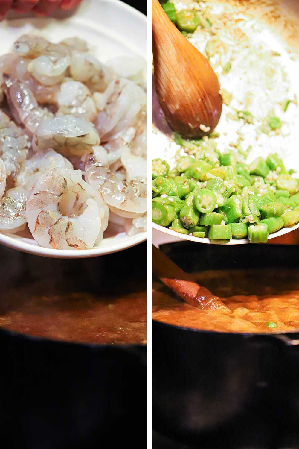 A bowl of uncooked shrimp being dumped into a pot of gumbo and then a skillet of cooked sliced okra being added to the pot.