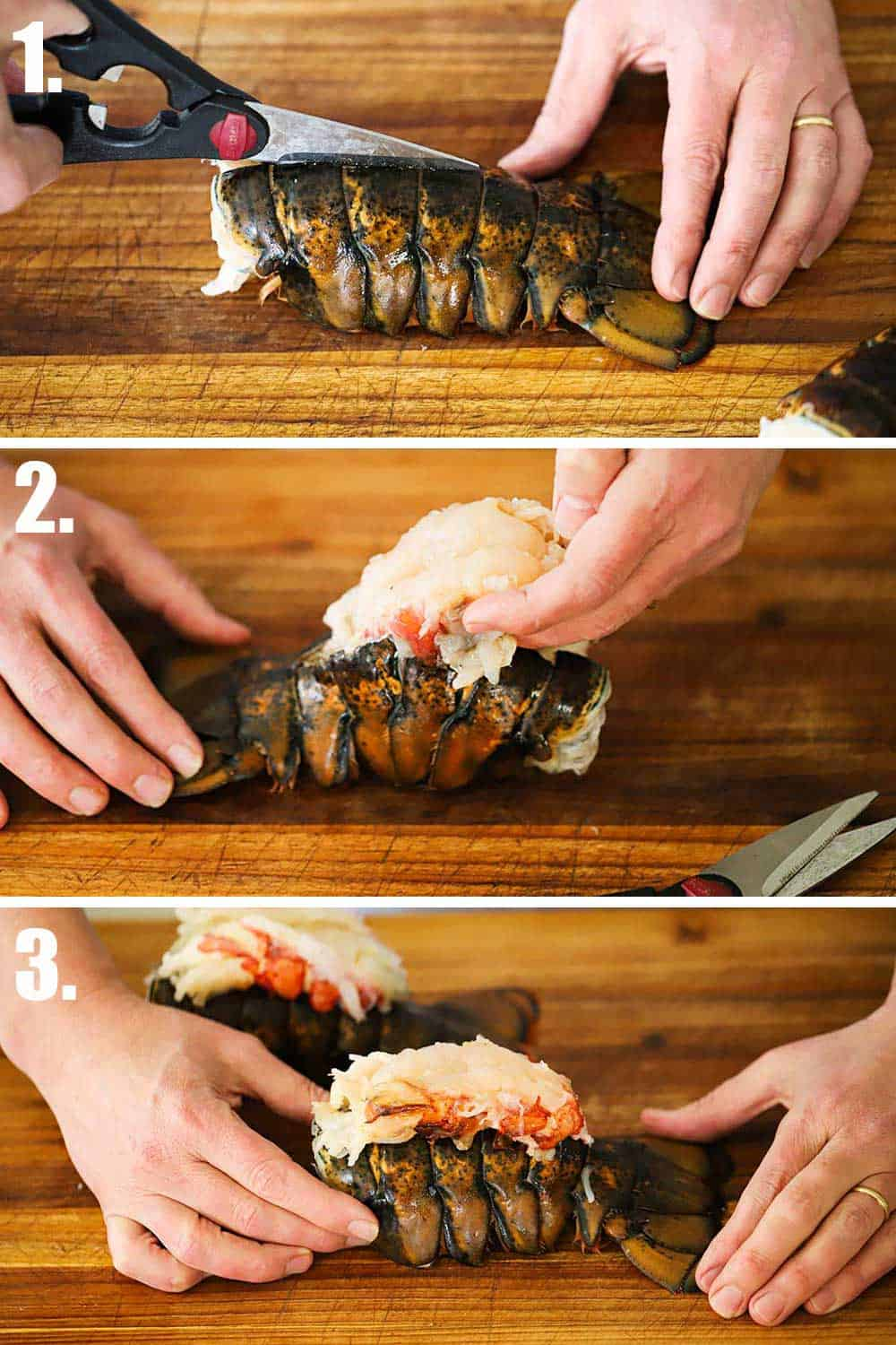 A person using kitchen shears to cut down the middle of an uncooked lobster tail and then that person removing the lobster meat and placing on top of the tail.