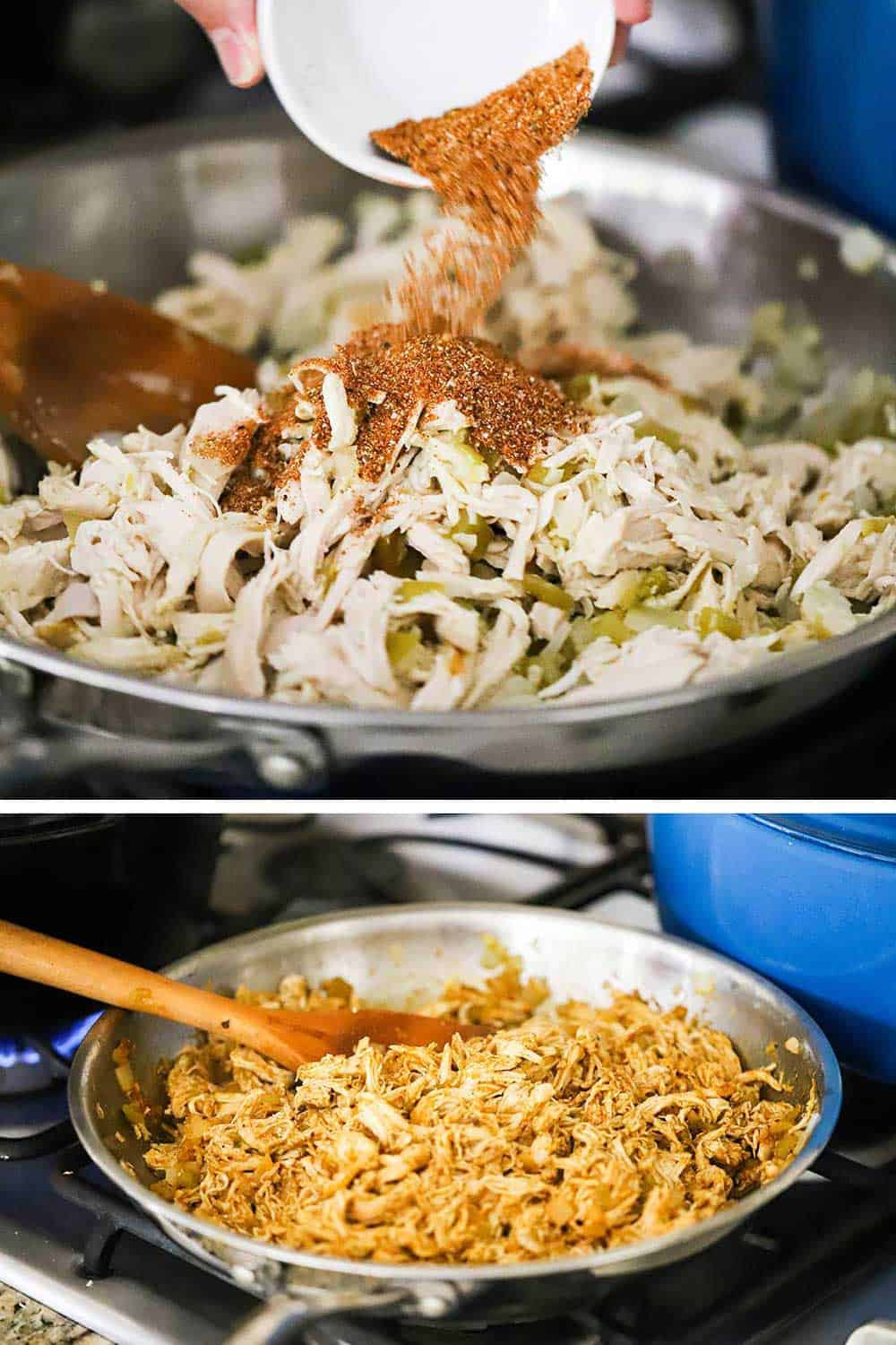 A person transferring taco seasoning from a small with bowl into a skillet of cooked, shredded chicken, and then a spoon stirring the seasoned chicken in the same skillet.
