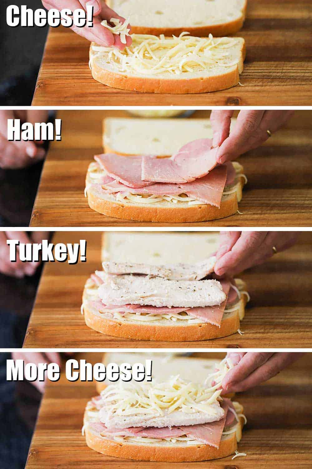 A four-layered process of adding mayo to a slice of bread, then a layer of sliced ham, then sliced turkey, then another layer of shredded cheese.
