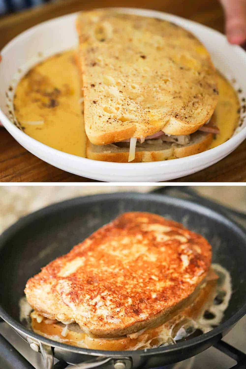 A sandwich filled with ham, turkey, and Gruyere cheese sitting in a bowl of beaten eggs and then that sandwich cooked in a skillet with the bread brown and crisp.
