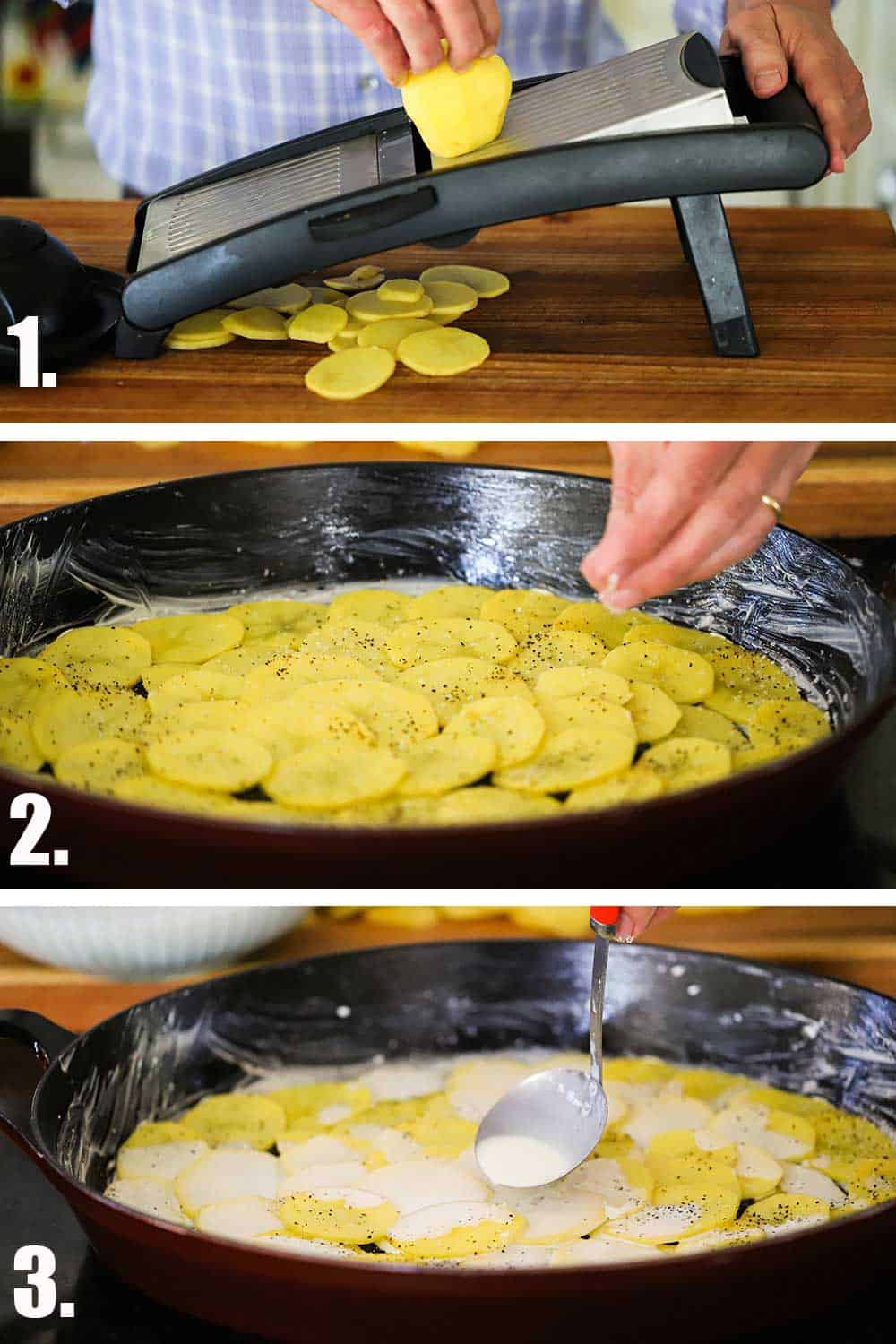 A person slicing a gold potato on a mandolin and then sprinkling salt over the layered potatoes in a dish and then ladling cream over them.