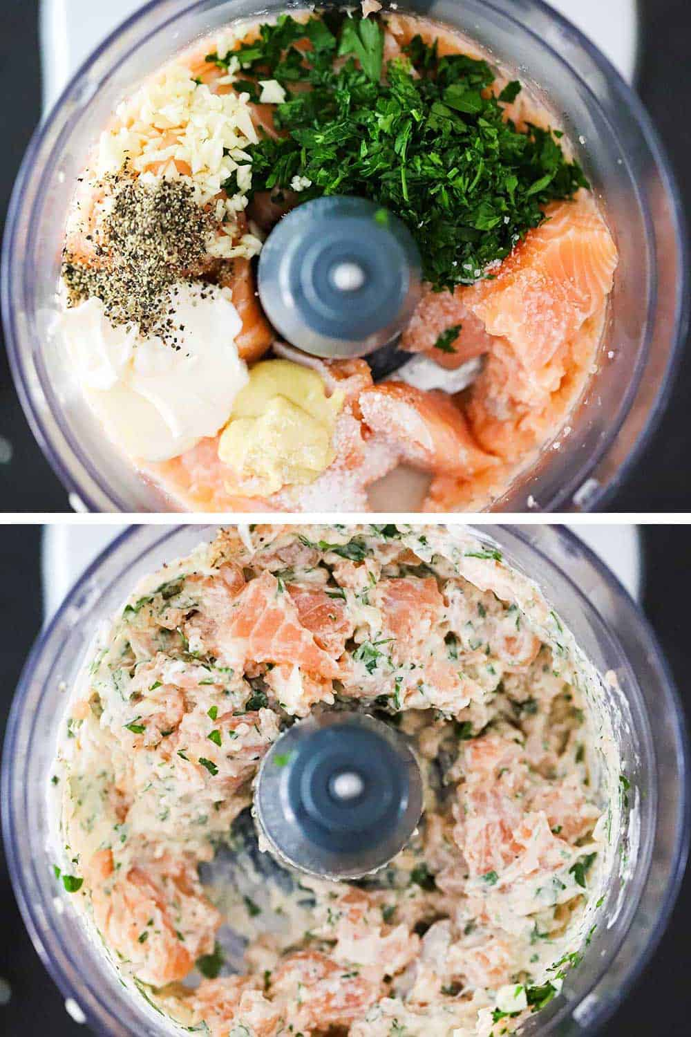 A food processor filled with chunks of salmon, herbs, mayonnaise, salt, and pepper and then again after the mixture has been processed briefly.