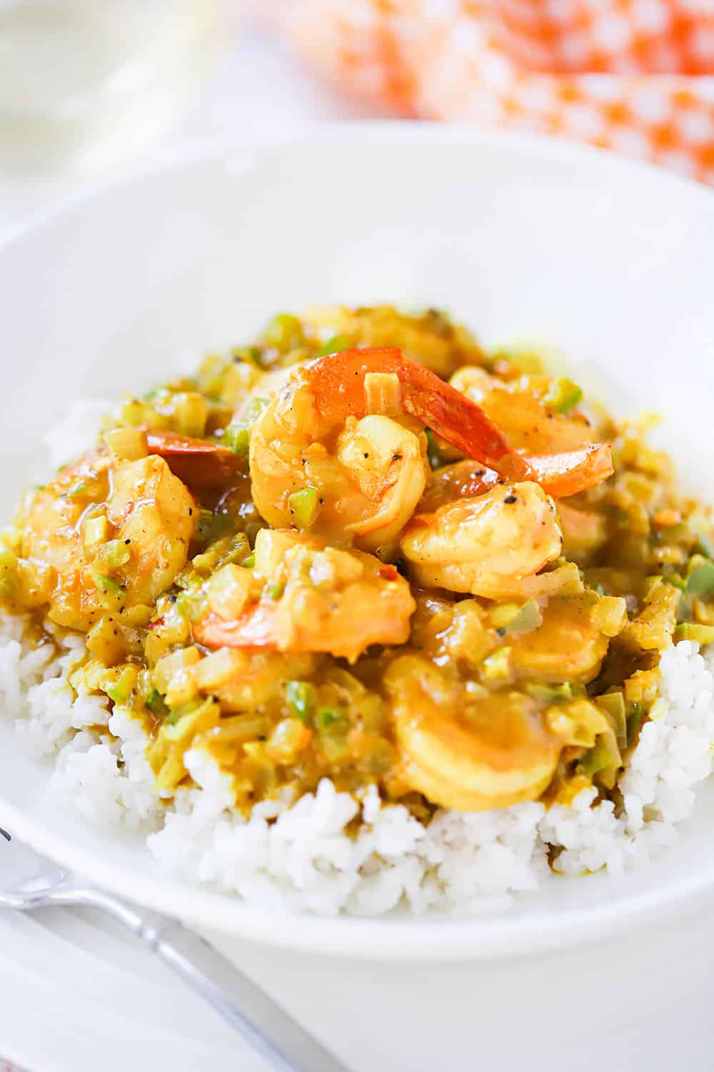 A circular white dinner bowl filled with shrimp curry on top of steamed white rice.