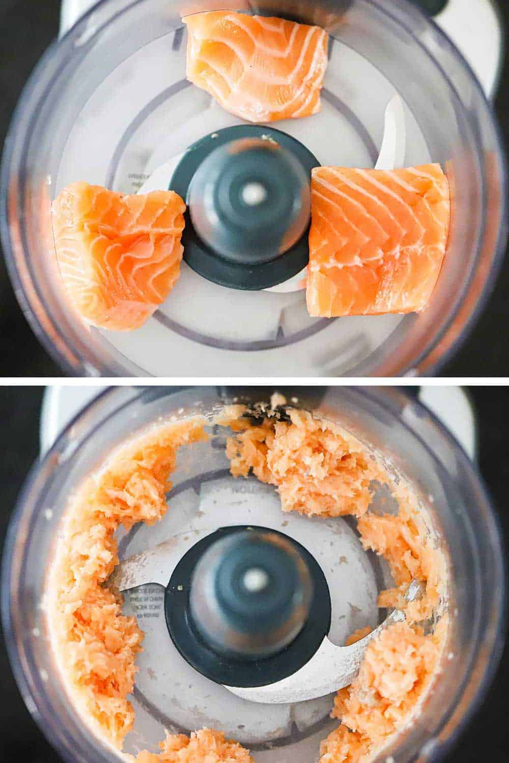 Several chunks of fresh salmon in a food processor and then that same salmon that has been processed to a smooth uniform texture.