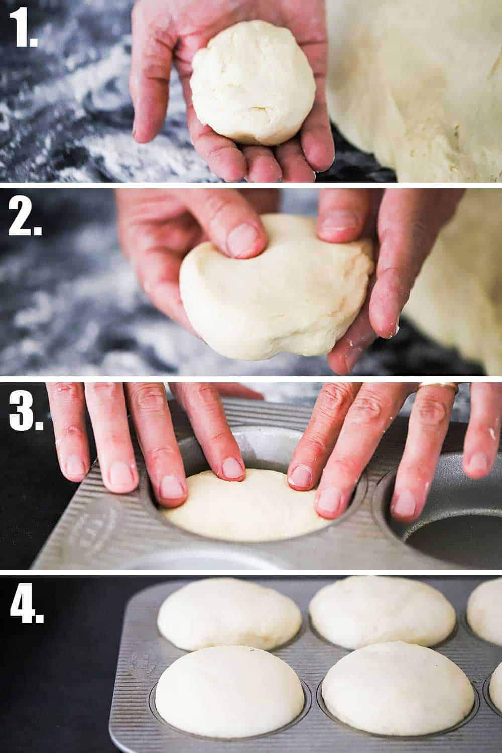 A person forming dough into a ball, and then flattening it, and the placing it into a bun pan and then viewing it after the dough has risen.