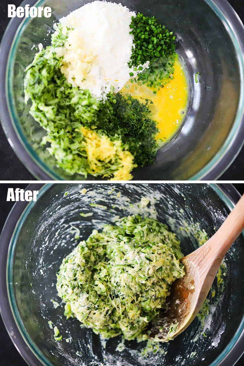 A glass bowl filled with shredded zucchini, parmesan cheese, egg, chives, and lemon zest and then the bowl again with all of these ingredients combined.