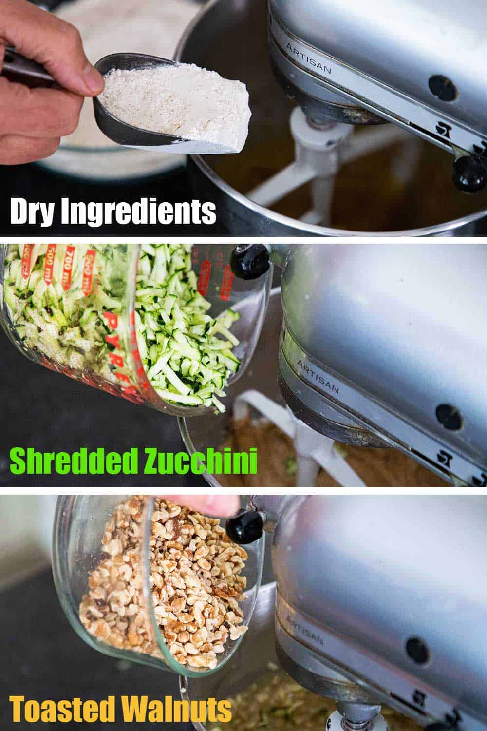 A person using a scooper to add flour into a mixer, and then the person is dumping shredded zucchini into the mixer, and then chopped walnuts, in the mixer.