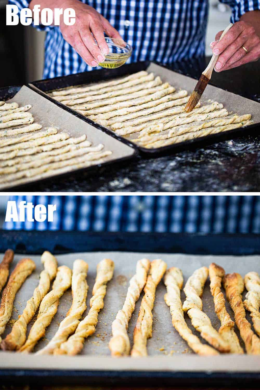 Two baking sheets filled with unbaked grissini being brushed with oil and then the bread after being baked.