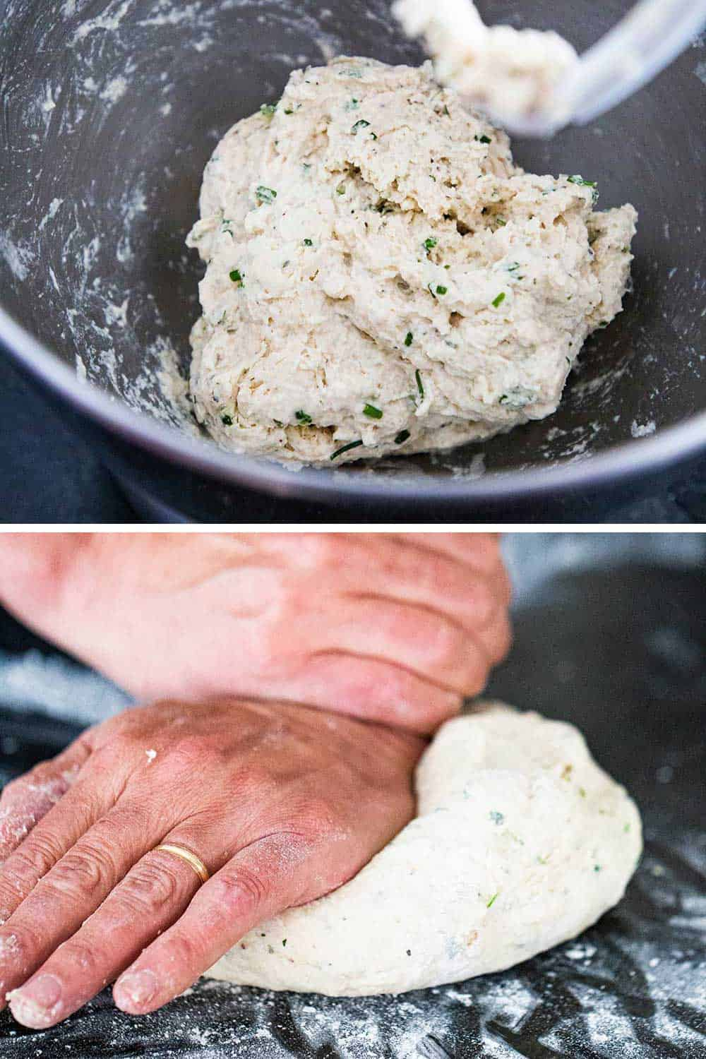 A ball of herb bread dough in the bowl of a stand mixer and then a person kneading the dough with his hands.