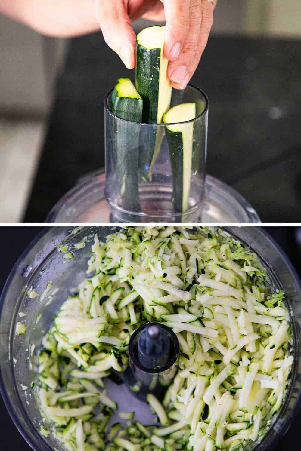 Quartered pieces of zucchini being place into the tube on the lid of a food processor, and then the zucchini after it's been shredded.