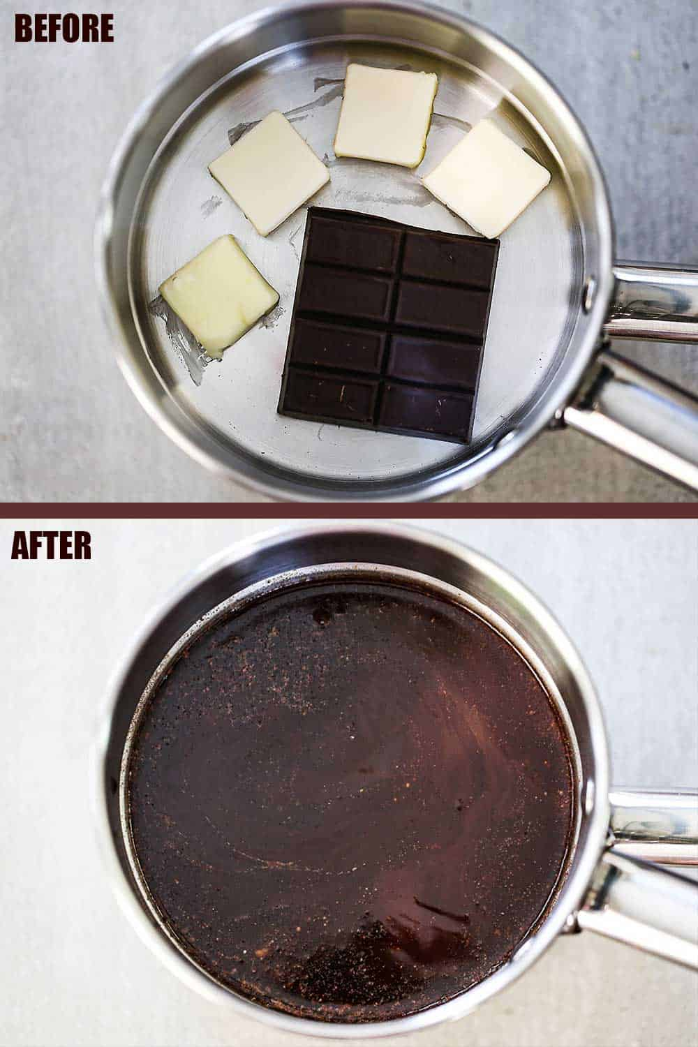 A saucepan filled with 4 pads of solid butter and a piece of solid chocolate, and then the same pan with the butter and chocolate melted and combined.