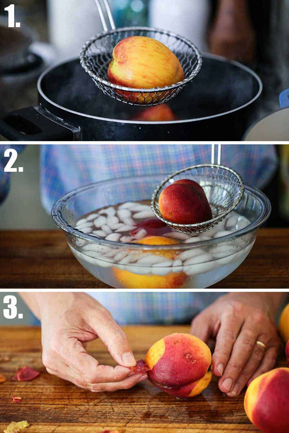 A kitchen spider holding up a peach over a pot of boiling water and then that peach being dropped into an ice bath and then a person peeling the peach.