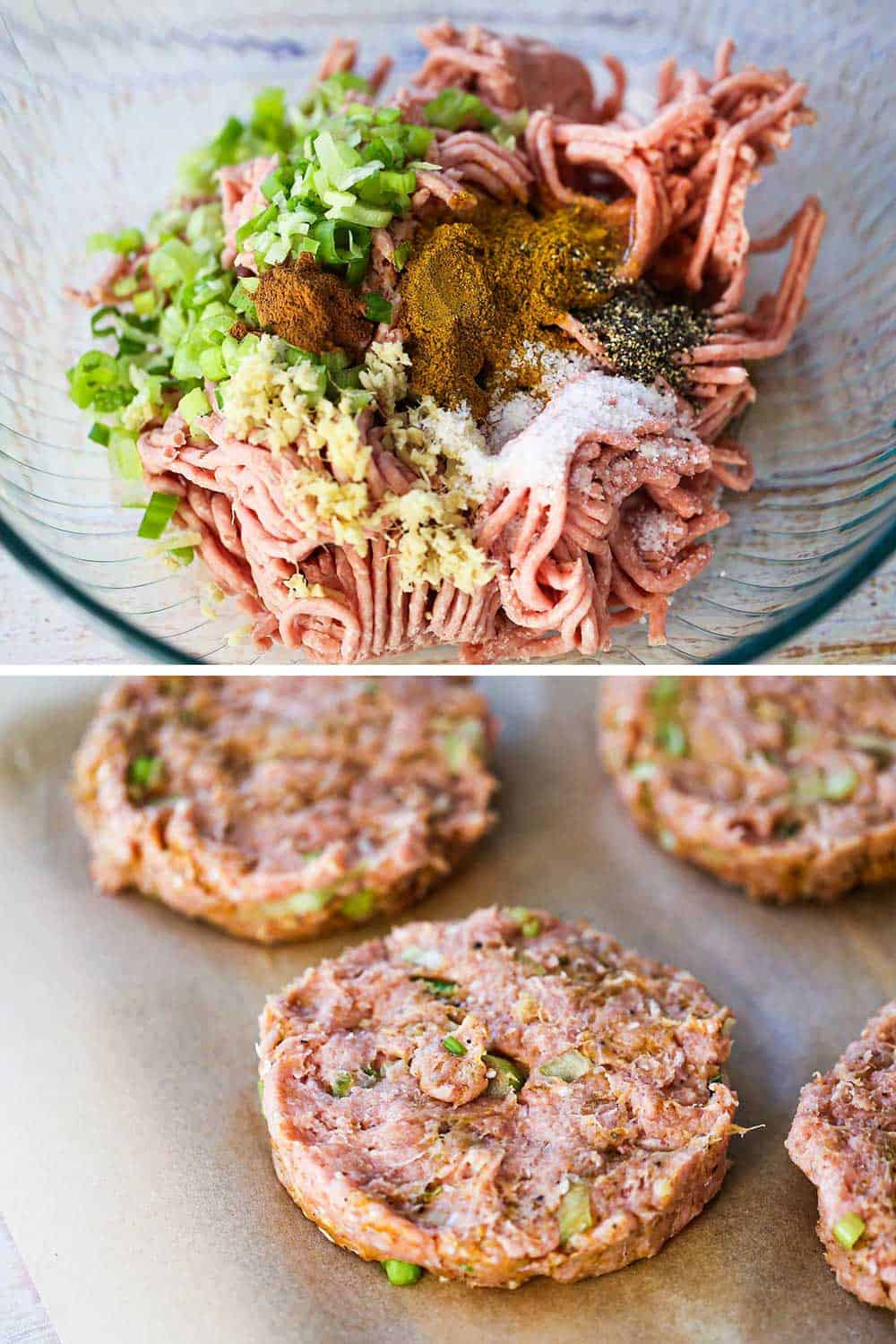 A glass bowl filled with ground fresh turkey, chopped scallions, ginger, and seasonings, and then all this formed into patties on brown parchment paper.