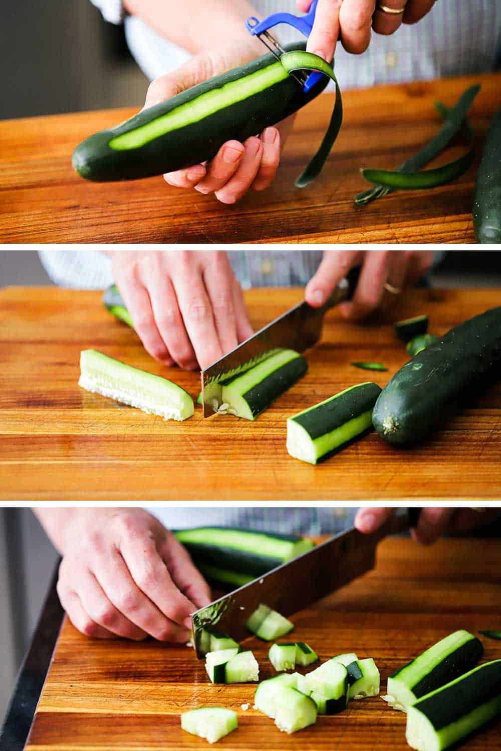 A person peeling a cucumber over a cutting board, and then quartering the cucumber, and then cutting it into bite-sized pieces.