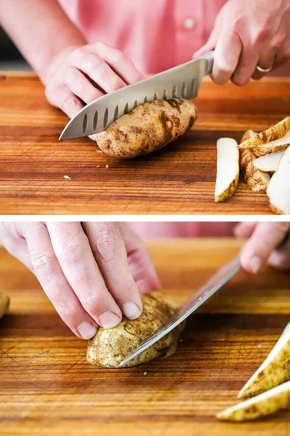 A person slicing a russet potato in half with a chef's knife and the cutting that halved potato into wedges.