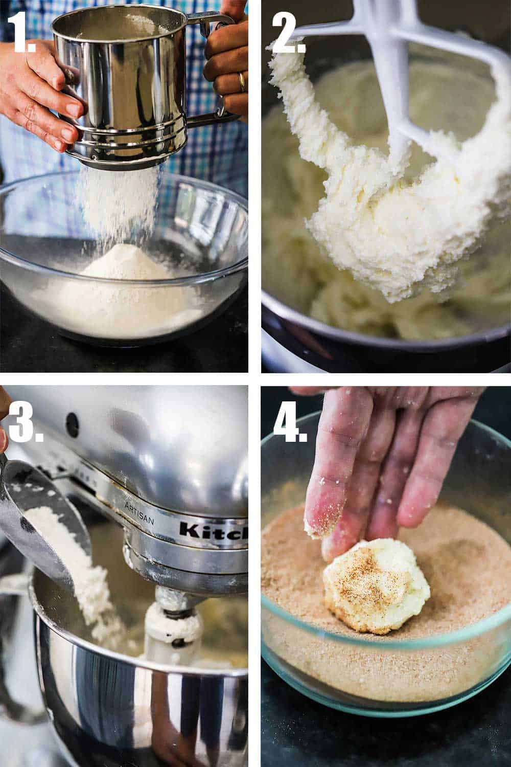 A person sifting flour into a glass bowl, and then cookie dough on a mixer paddle, and the flour being added into the mixer, and then a person rolling a ball of dough in sugar.