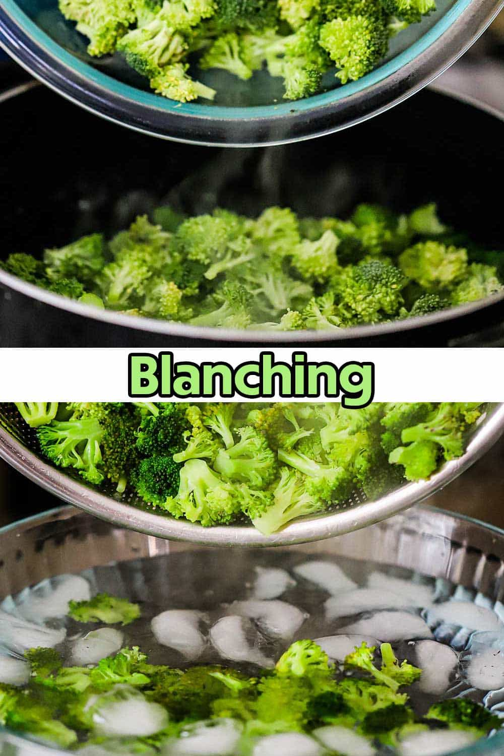 Broccoli florets being dropped from a glass bowl into a pot of boiling water and then the florets being transferred into an ice batch.