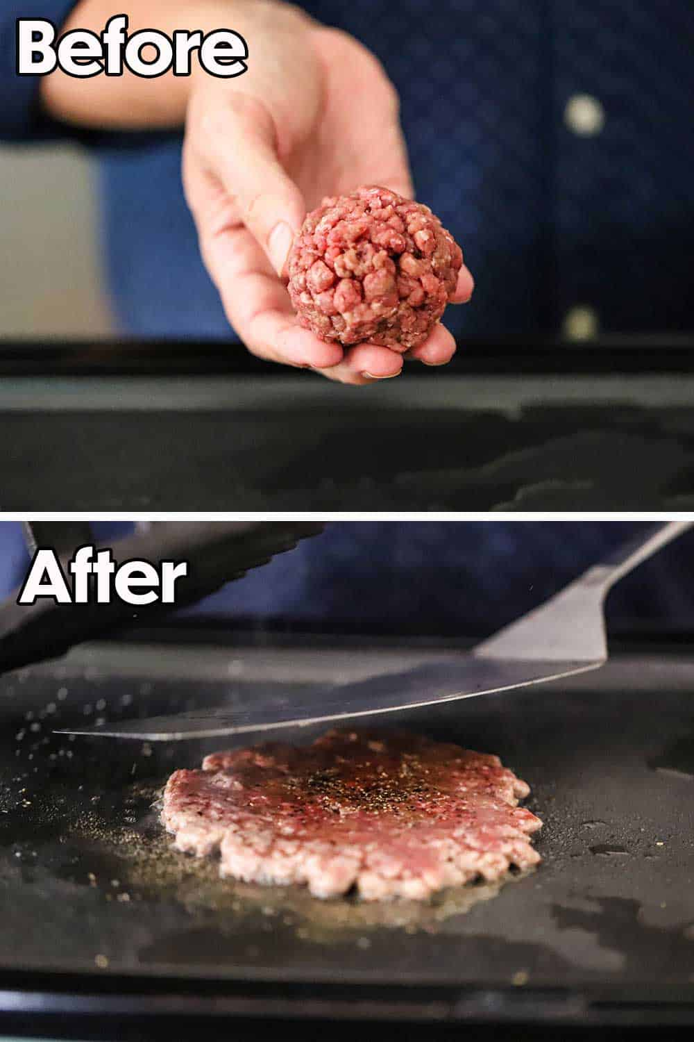 A person holding a ball of ground beef and then that person flattening the meat on a sizzling griddle with a large spatula.