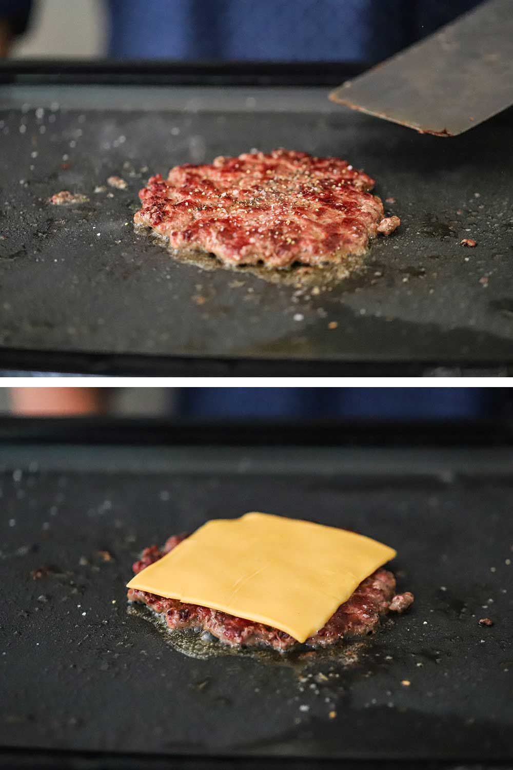A smash burger that has been flipped on a sizzling griddle and then that same burger with a slice of American cheese placed on top of it.