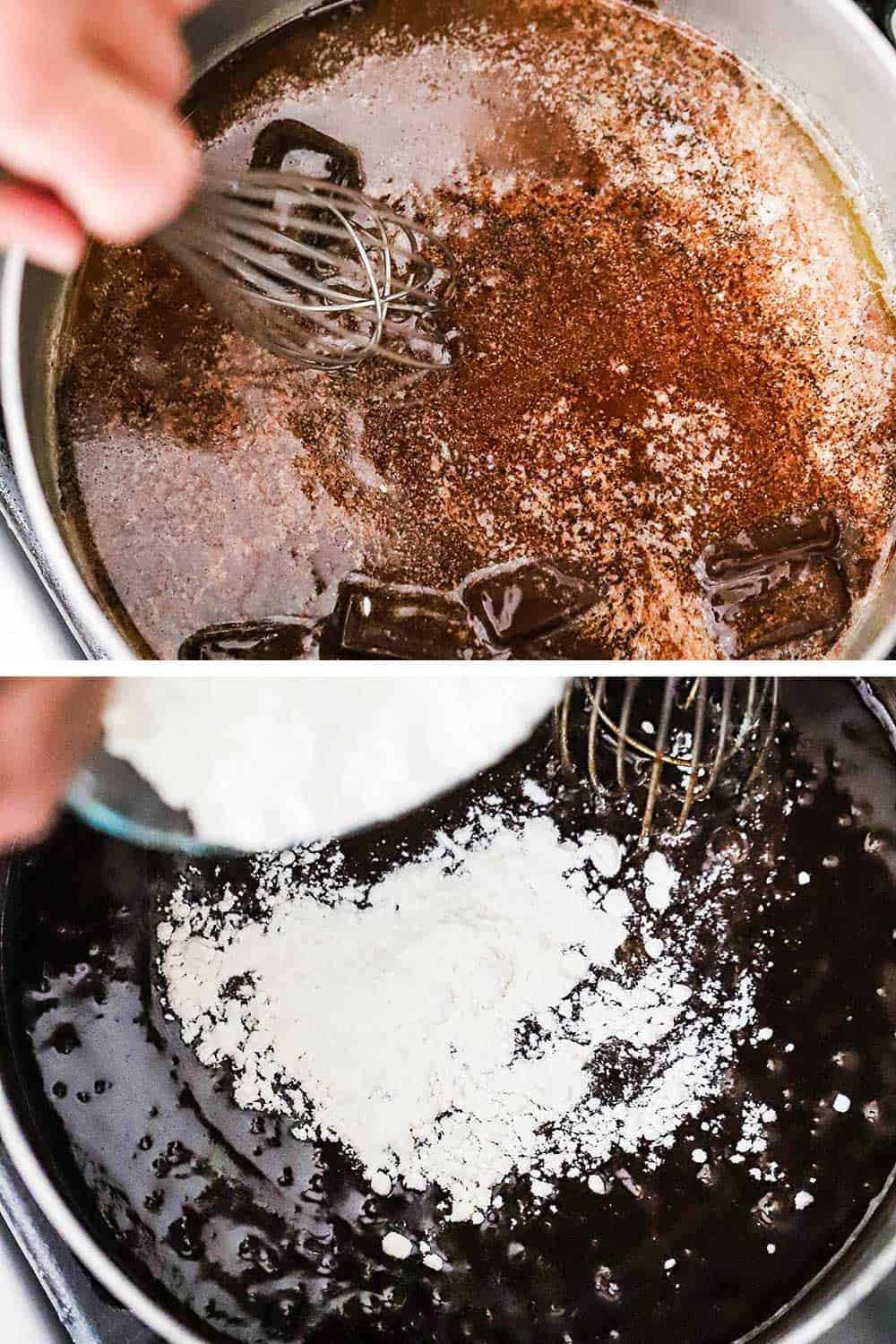 A medium saucepan filled with melted chocolate and butter and then the same pan with flour being poured into the chocolate mixture.